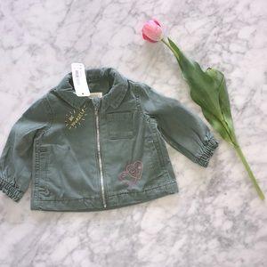 NWT 3-6 months  light olive Jacket zippered